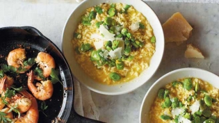lemon risotto with sauteed fresh fava beans
